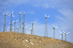 Wind farms in the desert Royalty Free Stock Images