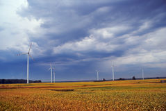 Wind farms on meadow. In Poland Stock Photos