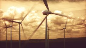 Wind Farms Power Generation Electrical Energy. Wind farms in wind power generation. Mechanical energy being transformed into electrical energy stock footage