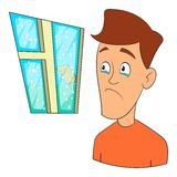 Wind fear icon, cartoon style Stock Images