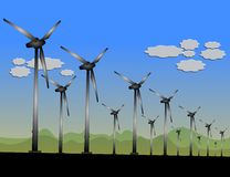 Wind field with wind turbines Royalty Free Stock Photo