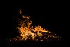 Wind and Fire. An extremely fast exposure of a large bonfire Royalty Free Stock Image