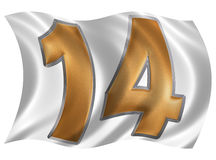 In the wind fluttering the flag with numeral 14, fourteen, isola royalty free illustration