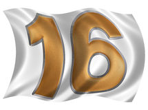 In the wind fluttering the flag with numeral 16, sixteen, isolat Royalty Free Stock Images