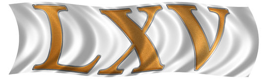 In the wind fluttering the flag with roman numeral LXV, quinque Stock Photo