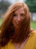 Wind Geblazen Rood Hoofd Royalty-vrije Stock Foto's
