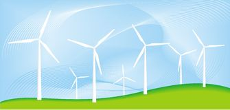 Wind generator. Eco power plant as field of wind generator Stock Photography