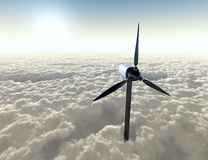 Wind generator. Wind turbine above the clouds Stock Photography