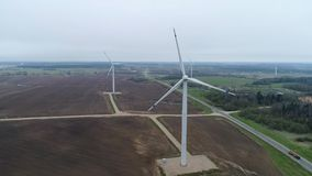 Wind generator,aerial photo, wind turbines stock footage
