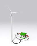Wind generator charges a small house. A wind generator is supplying energy to a small house with two terminals connected on the roof. On a white ground Stock Photography