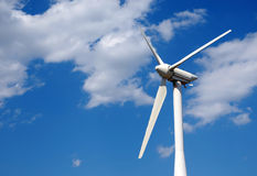 Wind generator close up against the blue sky Royalty Free Stock Image