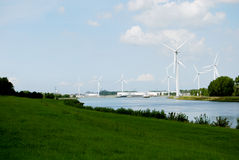 Wind generator. S on the river photo 2014 Stock Photos