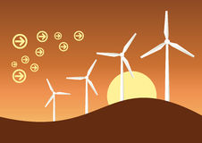 Wind generator graphic. Windmill generator landscape graphic illustration royalty free illustration