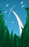 Wind generator in the grass Stock Image