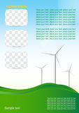 Wind generator, green energy. Brochure or cover design. Wind generator, green energy Stock Photos