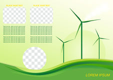 Wind generator, green energy. Brochure or cover design. Wind generator, green energy Stock Photo