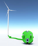Wind generator with a green plug Stock Photos