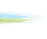 Wind Generator Landscape. Nature landscape ecology illustration, isolated Stock Photography