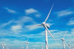 Wind generator mills against blue sky. And clouds. Green energy concept. 3D illustration Royalty Free Stock Images