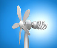 Wind generator and modern lamp Royalty Free Stock Photos