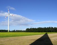 Wind generator and shadow stock photos