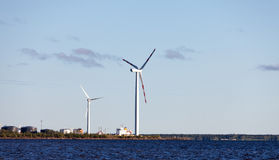 Wind Generator on Shore Sea Royalty Free Stock Image