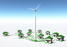 Wind generator supplys the houses. A wind generator is supplying small homes by connecting them with green cables, on a white ground and a blue sky Royalty Free Stock Image