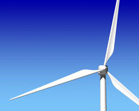 Wind Generator Turbine over Blue Sky. Green Renewable Energy Stock Photo