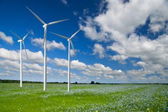 Wind generator turbine on spring landscape Royalty Free Stock Photography