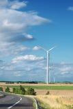Wind generator turbine on summer landscape Royalty Free Stock Images