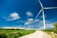 Wind Generator Turbines in beautiful Real Landscape Stock Photos