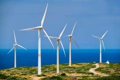 Free Wind Generator Turbines. Crete Island, Greece Royalty Free Stock Photography - 216695677