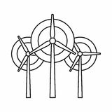 Wind generator turbines icon, outline style. Wind generator turbines icon in outline style on a white background vector illustration Stock Photography