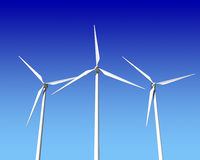 Wind Generator Turbines over Blue Sky. Green Renewable Energy Stock Images