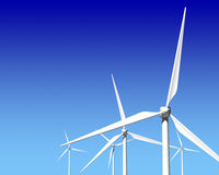 Wind Generator Turbines over Blue Sky. Green Renewable Energy Stock Image