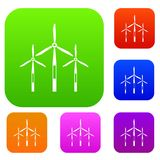 Wind generator turbines set color collection. Wind generator turbines set icon color in flat style isolated on white. Collection sings vector illustration Royalty Free Stock Image