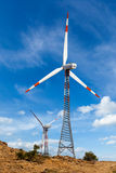 Wind generator turbines sihouettes Royalty Free Stock Photo