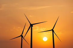 Wind generator turbines in sky Royalty Free Stock Photos