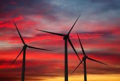 Wind generator turbines in sky Stock Photo
