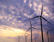 Wind Generator Turbines on Sunset Stock Photo