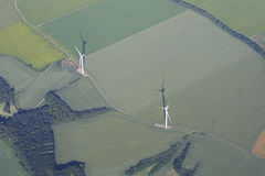 Wind generator. View from the airplane Stock Photography