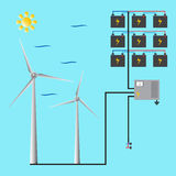 Wind generator for web and mobile. Green energy. Stock Photos