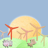 Wind generatormade form tissue papercraft Stock Image