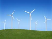 Wind generators. Wind turbine farm over sky Stock Photo