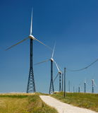 Wind generators. Or turbines used to generate electricity stock photography