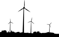 Wind generators. Vector silhouette of windturbines producing environment friendly energy Stock Photography