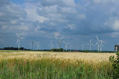 Wind generators. Along the road before the storm Royalty Free Stock Photos