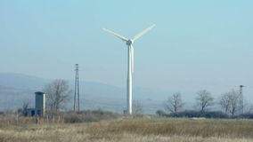 Wind generators on blue sky stock footage