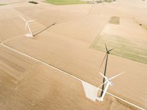 Wind generators in Boissy-la-Rivière royalty free stock photos