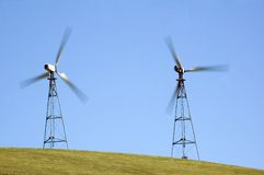 Wind generators in california. Illustrating the speed of the blades Royalty Free Stock Photo